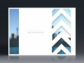 Horizontal brochure template with an view of skyscrapers. Blurred city background.