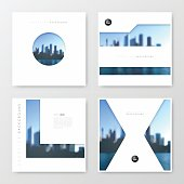 Set of four brochure templates with an view of skyscrapers. Blurred city background.