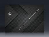 Horizontal brochure template with an carbon metallic background, carbon fiber texture.