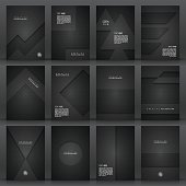 Set of twelve vertical brochure templates with an carbon metallic background, carbon fiber texture.