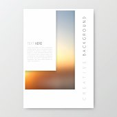 Vertical brochure template with an abstract background, blurred sunset.
