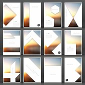 Set of twelve vertical brochure templates with an abstract background, blurred sunset.