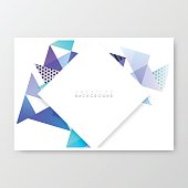 Horizontal brochure template with an abstract geometric background. Modern background with bleu, purple and turquoise triangles.