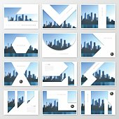 Set of twelve horizontal brochure templates with an view of skyscrapers. Blurred city background.