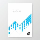 Vertical brochure template with irregular rounded lines halftone transition. Blue and white abstract background.