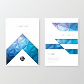 Set of two vertical brochure templates with a modern geometric background. Abstract polygonal background - Low Poly, Geometric Vector.