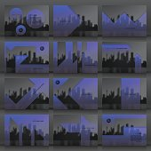 Set of twelve horizontal brochure templates with an view of skyscrapers. Blurred city background in black and white with a transparent blue effect.