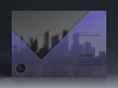 Horizontal brochure template with an view of skyscrapers. Blurred city background in black and white with a transparent blue effect.