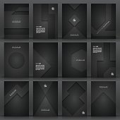 Set of twelve vertical brochure templates with an carbon metallic background, carbon fiber texture.