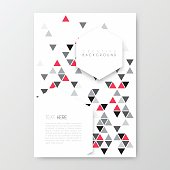 Vertical brochure template with an abstract geometric background. Modern background with gray and red triangles.