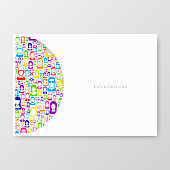 Horizontal brochure template with color people on white background.