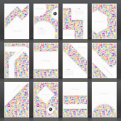 Set of twelve vertical brochure templates with color people on white background.
