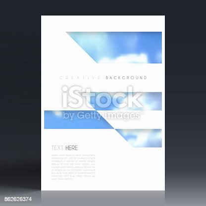 Vertical brochure template with an abstract background, blurred blue sky and clouds.