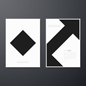 Set of two vertical brochure templates with an abstract geometric background, black and white color.