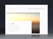 Horizontal brochure template with an abstract background, blurred sunset.