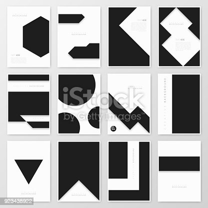 Set of twelve vertical brochure templates with an abstract geometric background, black and white color. Can be used for different designs, such as brochure, cover design, magazine, business annual report, flyer, leaflet, presentations... Template for your design. With space for your text and your background. The layers are named to facilitate your customization. Vector Illustration (EPS10, well layered and grouped). Easy to edit, manipulate, resize or colorize. Please do not hesitate to contact me if you have any questions, or need to customise the illustration. http://www.istockphoto.com/portfolio/bgblue