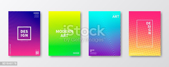 Set of four vertical brochure templates with abstract and colorful geometric backgrounds. Modern and trendy background with beautiful color gradients (blue, purple, pink, yellow, green, cyan, red, orange). Can be used for different designs, such as brochure, cover design, magazine, business annual report, flyer, leaflet, presentations... Template for your design. With space for your text and your background. The layers are named to facilitate your customization. Vector Illustration (EPS10, well layered and grouped). Easy to edit, manipulate, resize or colorize. Please do not hesitate to contact me if you have any questions, or need to customise the illustration. http://www.istockphoto.com/portfolio/bgblue