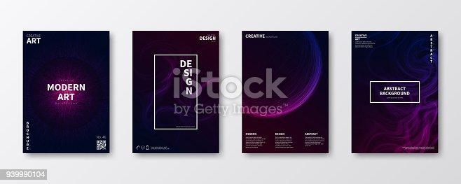 Set of four vertical brochure templates with a dark futuristic design on black background (modern and trendy abstract backgrounds - black, blue, pink, purple). Can be used for different designs, such as brochure, cover design, magazine, business annual report, flyer, leaflet, presentations... Template for your design. With space for your text and your background. The layers are named to facilitate your customization. Vector Illustration (EPS10, well layered and grouped). Easy to edit, manipulate, resize or colorize. Please do not hesitate to contact me if you have any questions, or need to customise the illustration. http://www.istockphoto.com/portfolio/bgblue