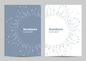 Brochure template layout design. Abstract geometric background with connected lines and dots