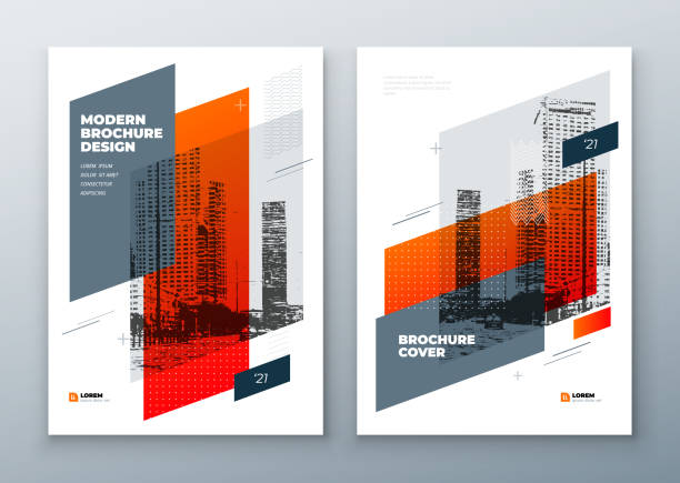 brochure template layout design. corporate business annual report, catalog, magazine, brochure, flyer mockup. creative modern bright concept in memphis style - szkic rysunek stock illustrations
