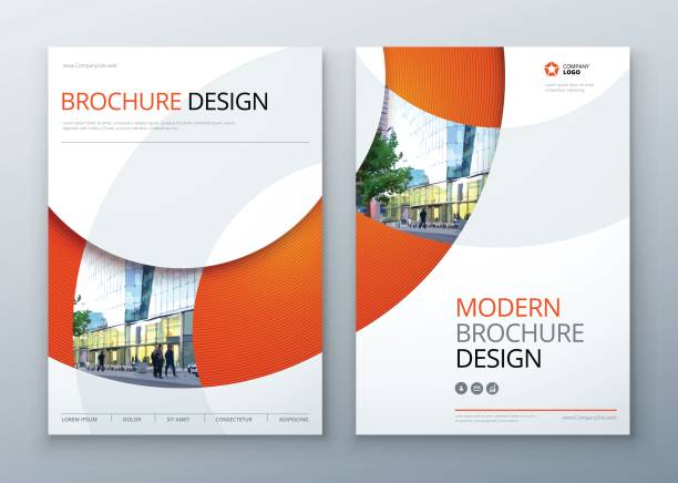 brochure template layout design. corporate business annual report, catalog, magazine, flyer mockup. creative modern bright concept circle round shape - brochure templates stock illustrations, clip art, cartoons, & icons