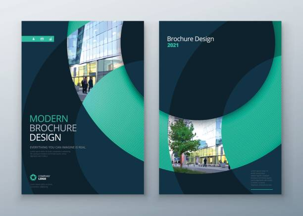 brochure template layout design. corporate business annual report, catalog, magazine, flyer mockup. creative modern bright concept circle round shape - annual reports templates stock illustrations