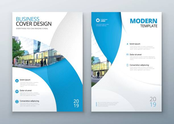 brochure template layout design. corporate business annual report, catalog, magazine, flyer mockup. creative modern bright concept circle round shape - blue drawings stock illustrations