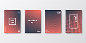 Set of four vertical brochure templates with abstract and geometric backgrounds. Modern and trendy background with color gradients (colors used: Orange, Red, Pink, Gray, Black). Can be used for different designs, such as brochure, cover design, magazine, business annual report, flyer, leaflet, presentations... Template for your design, with space for your text. The layers are named to facilitate your customization. Vector Illustration (EPS10, well layered and grouped). Easy to edit, manipulate, resize or colorize.