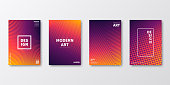Set of four vertical brochure templates with abstract and geometric backgrounds. Modern and trendy background with color gradients (colors used: Yellow, Orange, Red, Pink, Purple, Black). Can be used for different designs, such as brochure, cover design, magazine, business annual report, flyer, leaflet, presentations... Template for your design, with space for your text. The layers are named to facilitate your customization. Vector Illustration (EPS10, well layered and grouped). Easy to edit, manipulate, resize or colorize.