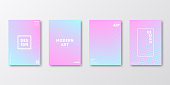 Set of four vertical brochure templates with abstract and geometric backgrounds. Modern and trendy background with color gradients (colors used: Turquoise, Blue, White, Gray, Purple, Pink). Can be used for different designs, such as brochure, cover design, magazine, business annual report, flyer, leaflet, presentations... Template for your design, with space for your text. The layers are named to facilitate your customization. Vector Illustration (EPS10, well layered and grouped). Easy to edit, manipulate, resize or colorize.