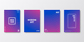 Set of four vertical brochure templates with abstract and geometric backgrounds. Modern and trendy background with color gradients (colors used: Pink, Purple, Blue). Can be used for different designs, such as brochure, cover design, magazine, business annual report, flyer, leaflet, presentations... Template for your design, with space for your text. The layers are named to facilitate your customization. Vector Illustration (EPS10, well layered and grouped). Easy to edit, manipulate, resize or colorize.
