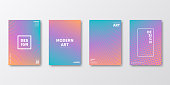Set of four vertical brochure templates with abstract and geometric backgrounds. Modern and trendy background with color gradients (colors used: Orange, Pink, Purple, Blue, Turquoise, Green). Can be used for different designs, such as brochure, cover design, magazine, business annual report, flyer, leaflet, presentations... Template for your design, with space for your text. The layers are named to facilitate your customization. Vector Illustration (EPS10, well layered and grouped). Easy to edit, manipulate, resize or colorize.