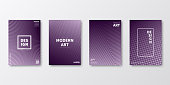 Set of four vertical brochure templates with abstract and geometric backgrounds. Modern and trendy background with color gradients (colors used: Pink, Purple, Black). Can be used for different designs, such as brochure, cover design, magazine, business annual report, flyer, leaflet, presentations... Template for your design, with space for your text. The layers are named to facilitate your customization. Vector Illustration (EPS10, well layered and grouped). Easy to edit, manipulate, resize or colorize.