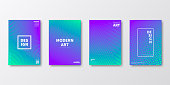 Set of four vertical brochure templates with abstract and geometric backgrounds. Modern and trendy background with color gradients (colors used: Green, Turquoise, Blue, Purple, Pink). Can be used for different designs, such as brochure, cover design, magazine, business annual report, flyer, leaflet, presentations... Template for your design, with space for your text. The layers are named to facilitate your customization. Vector Illustration (EPS10, well layered and grouped). Easy to edit, manipulate, resize or colorize.