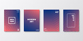 Set of four vertical brochure templates with abstract and geometric backgrounds. Modern and trendy background with color gradients (colors used: Red, Orange, Pink, Purple, Blue). Can be used for different designs, such as brochure, cover design, magazine, business annual report, flyer, leaflet, presentations... Template for your design, with space for your text. The layers are named to facilitate your customization. Vector Illustration (EPS10, well layered and grouped). Easy to edit, manipulate, resize or colorize.