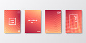 Set of four vertical brochure templates with abstract and geometric backgrounds. Modern and trendy background with color gradients (colors used: Yellow, Beige, Orange, Red, Brown, Pink, Purple). Can be used for different designs, such as brochure, cover design, magazine, business annual report, flyer, leaflet, presentations... Template for your design, with space for your text. The layers are named to facilitate your customization. Vector Illustration (EPS10, well layered and grouped). Easy to edit, manipulate, resize or colorize.
