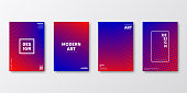 Set of four vertical brochure templates with abstract and geometric backgrounds. Modern and trendy background with color gradients (colors used: Red, Pink, Purple, Blue). Can be used for different designs, such as brochure, cover design, magazine, business annual report, flyer, leaflet, presentations... Template for your design, with space for your text. The layers are named to facilitate your customization. Vector Illustration (EPS10, well layered and grouped). Easy to edit, manipulate, resize or colorize.