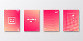 Set of four vertical brochure templates with abstract and geometric backgrounds. Modern and trendy background with color gradients (colors used: Yellow, Beige, Orange, Red, Pink). Can be used for different designs, such as brochure, cover design, magazine, business annual report, flyer, leaflet, presentations... Template for your design, with space for your text. The layers are named to facilitate your customization. Vector Illustration (EPS10, well layered and grouped). Easy to edit, manipulate, resize or colorize.