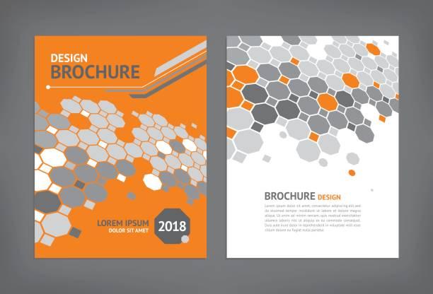 stockillustraties, clipart, cartoons en iconen met brochure sjabloon - achthoek