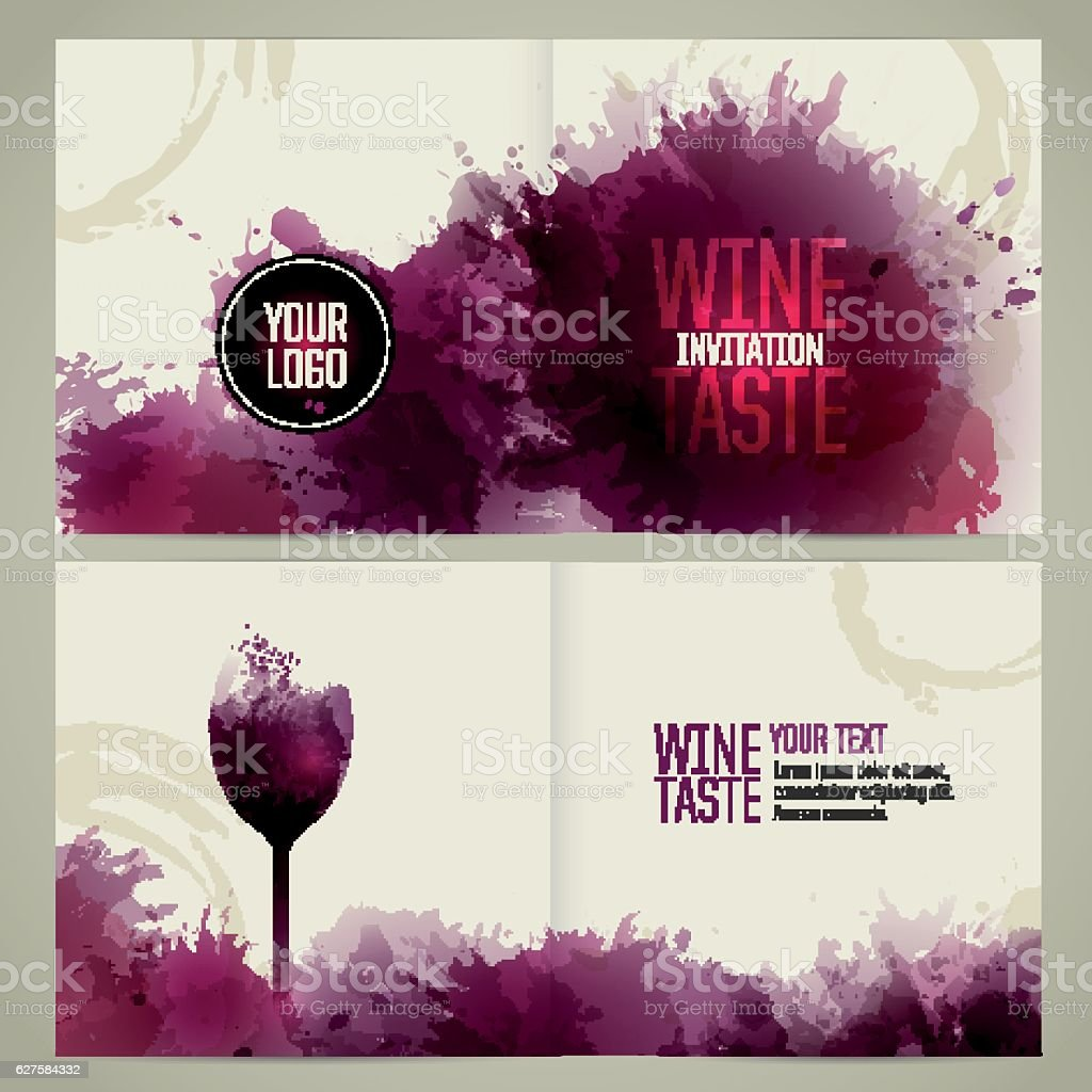 Brochure template with glass and wine stains vector art illustration