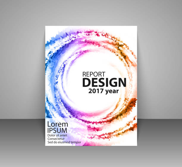 Brochure with futuristic colorful background. Report, flyer, business layout, presentation template A4 size. vector art illustration