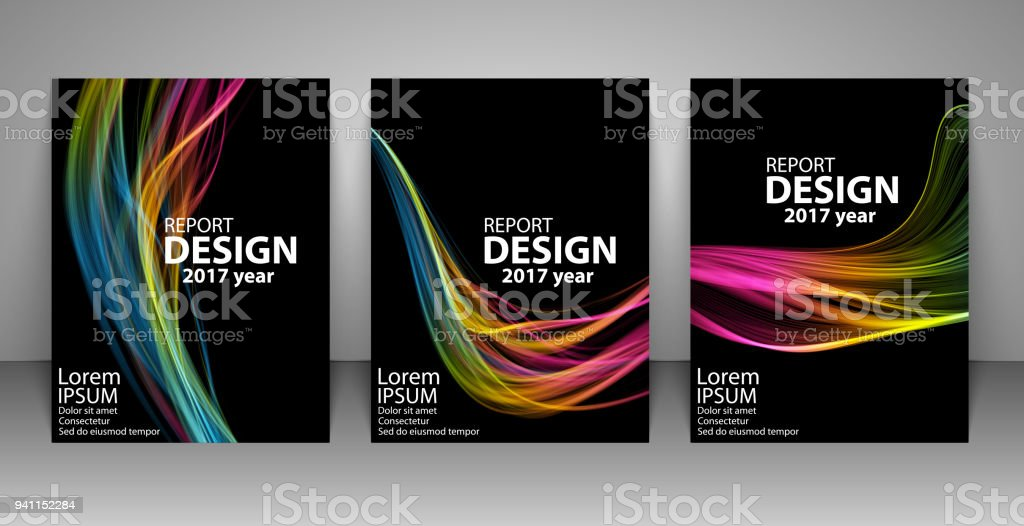Brochure with futuristic colorful light wave background. Report, flyer, business layout, presentation template A4 size. vector art illustration