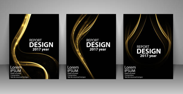 Brochure with futuristic gold light wave. Report, flyer, business layout, presentation template A4 size. vector art illustration