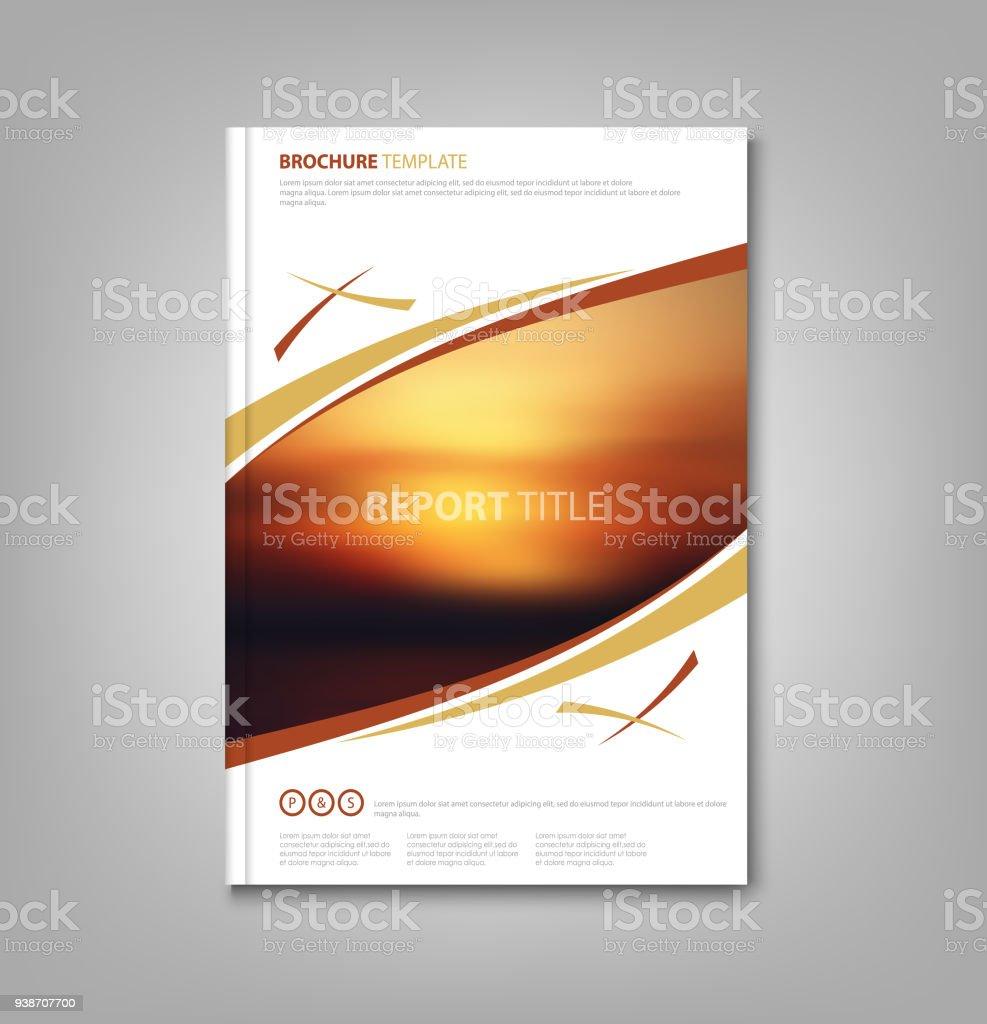 Buch Von Broschüren Oder Flyer Mit Sonnenuntergang Designvorlage ...