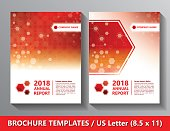 Brochures Front side templates US Letter size. Hexagon scientific and medicine templates.