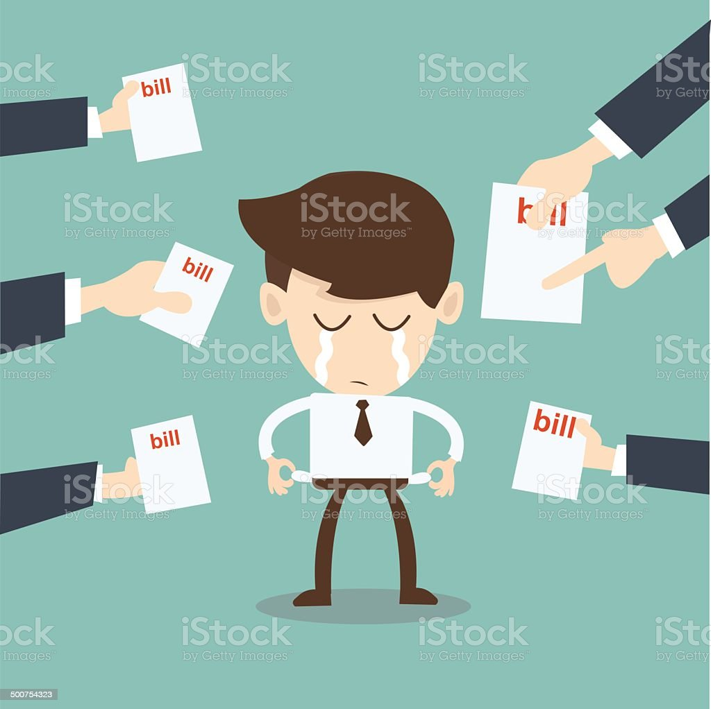broke man hassled by creditors holding bills, signs, payment demands vector art illustration