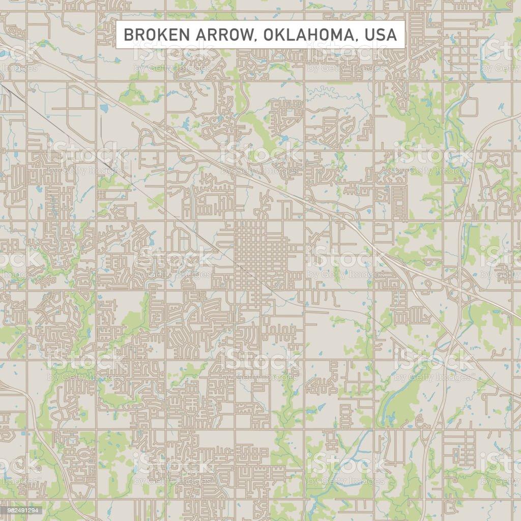 Broken Arrow Oklahoma Us City Street Map Stock Vector Art & More ...