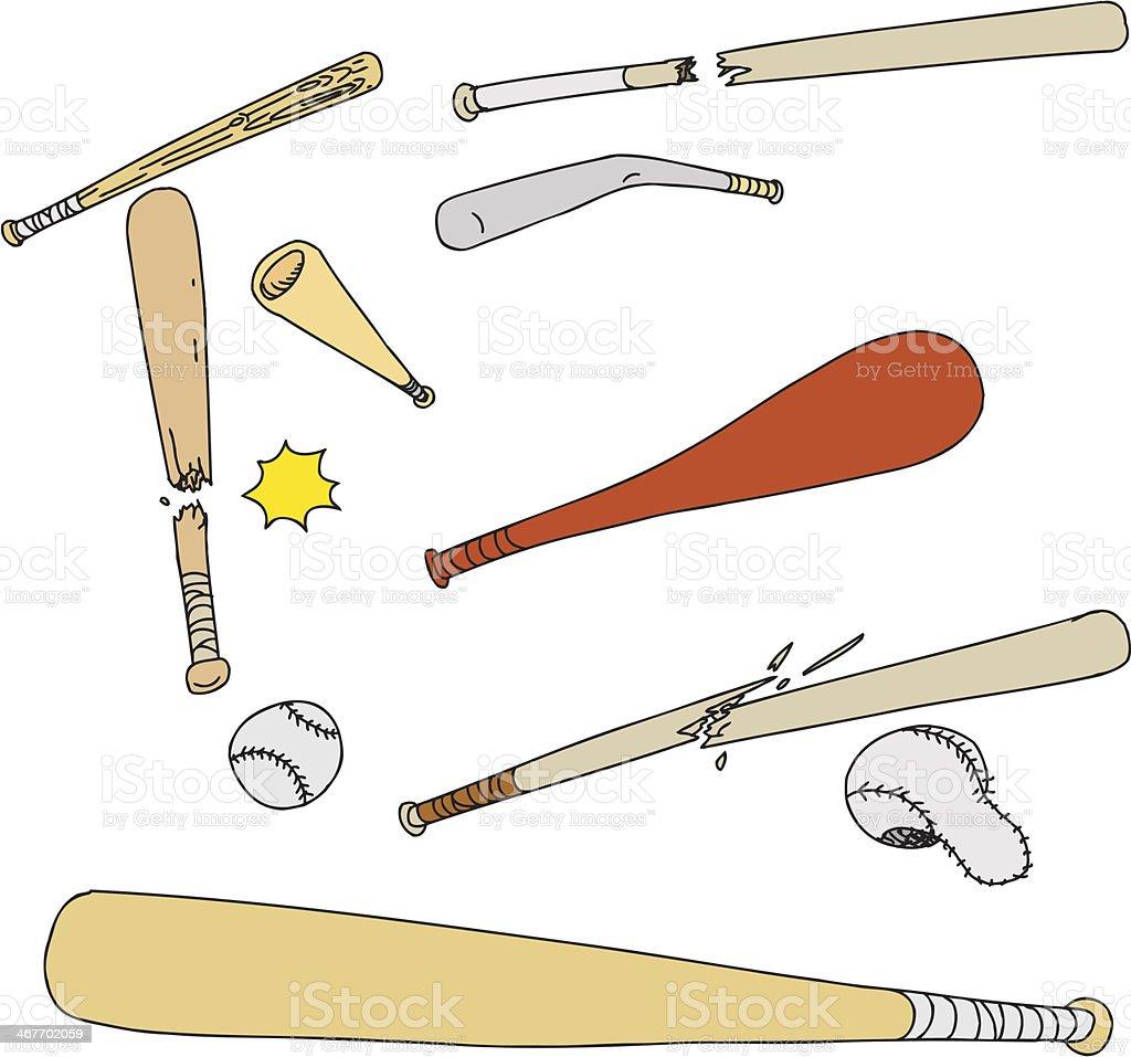 Broken Baseball Objects vector art illustration