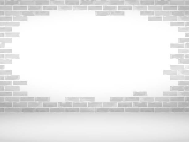Broken Brick Wall vector art illustration