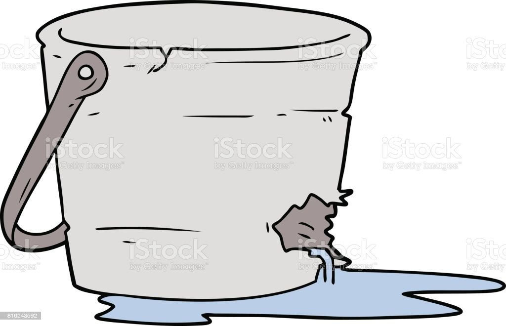 broken bucket cartoon vector art illustration